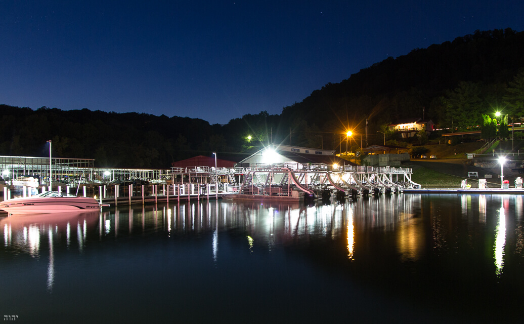 fuel dock at night